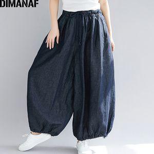 Dimanaf Plus Size Mujeres Pantalones anchos de pierna ancha Pantalones vaqueros de otoño Pantalones Casual Vintage 2018 Cintura elástica de gran tamaño Pantalones grandes 5xl Y19071701