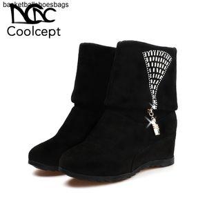Women Half Short Boots Fashion Coolcept Crystal Zipper Wedges Shoes Women Black Casual Round Toe Winter Footwear Size 35-40