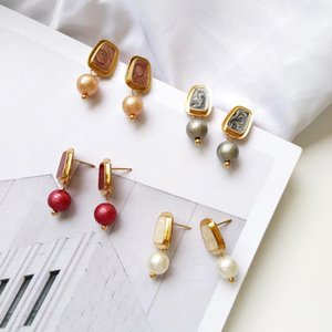 Wholesale-Elegant Gray Pattern Beads Clip on Earrings No Pierced Korean Fashion Multi Short Pendant Earrings for Women