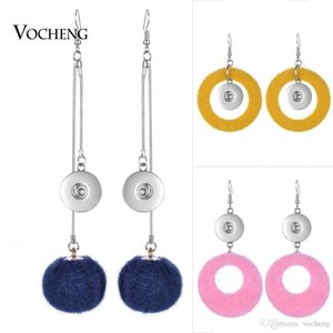 VOCHENG NOOSA Pompon Earring Ginger Snap Jewelry for 18m Snap Charms Dangle Earring for Women NN-640