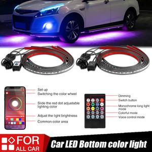 Racbox 4pcs / set Araba Underglow Şerit LED Işık Esnek RGB Dekoratif Atmosfer Lambası Uzaktan APP Ses Kontrol rengi Neon Işık