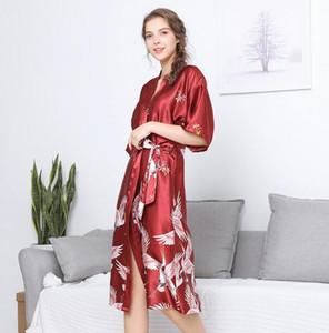 Modelos de explosión de seda de simulación pijamas de la boda mujeres otoño dama de honor rojo novia vestido de la mañana en casa bata