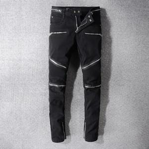 Erkek Siyah Skinny Jeans Fold Moda Tasarımcısı fermuar Panelli Sıkıntılı Slim Fit Motosiklet Biker Hip Hop Denim Pantolon 1071