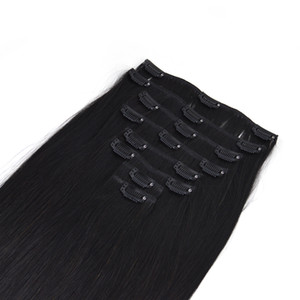 Venta al por mayor de cutícula doble doble Wefted Clip de alta calidad en la extensión del cabello extensión del pelo sedoso pelo recto