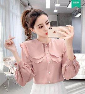 شحن مجاني جديد وصول حار بيع الأزياء النسائية النسخة الكورية سوبر الجنية الشيفون طبقة مزدوجة لوتس ليف الياقة الأعلى قمصان المد