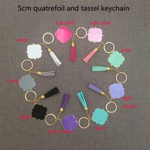 Altın / Gümüş Toptan Özelleştirilmiş Kişiselleştirilmiş Monogrammed Boş Quatrefoil Püskül Anahtarlık 5 cm Quatrefoil Monogrammed Süet Püskül Anahtarlık