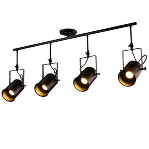 Retro LED Parça Işık Endüstriyel Parça Lambası Bar Giyim Kişilik Raylı Işık Üç Kafalı İç Aydınlatma Armatür