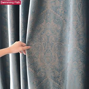 Luxus Blackout Stoff-Panel Stoff Vorhänge für Wohnzimmer Sonnenschutz Shading-Fenster-Vorhang für Schlafzimmer Benutzerdefinierte T200323