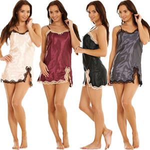 hirigin Sexy Lingerie Women Sleeveless V-neck Satin Lace Crochet Mini Split Dress Babydoll Nightdress Sleepwear