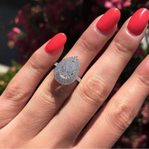Tamaño 6-10 Impresionante joyería de lujo 925 Stearling Silver Drop Water White Topaz CZ Diamond Gemstones Party Women Wedding Bridal Ring Gift