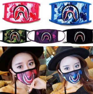 Unisex Shark Face Mask Mouth-muffle Mouth Masks Camouflage Cycling Designer Mask Purple Red Blue Sharks Scary Masks B61901