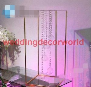 Оптовая продажа фабрики включая вися Кристалл и держатель для свечи свадьба centerpieces золотой металлический цветок стенд decor180