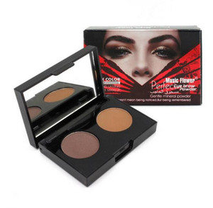 Music Flower Brand Makeup Eyebrow Powder Palette Naked Eye Brown Nude Earth 2Colors Eye Shadow Palette Eyebrow Brush Tool Natural