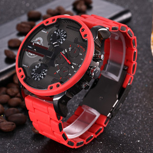 Relojes de marca para hombre de negocios Relojes de pulsera de acero inoxidable rojo Relojes de diseño para hombres de gran tamaño Reloj de pulsera moderno de lujo con múltiples relojes Reloj de fecha y día