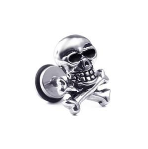 Designer Luxury Hip-hop Titanium Steel Punk Crâne de roche Earsring Boucles d'oreilles Bijoux Skull personnelle Boucles d'oreilles Halloween Bijoux