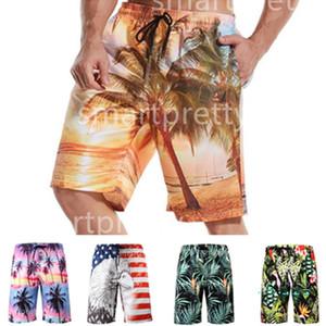 6XL الرجال الصيف شاطئ السراويل الزهور التنين جوز الهند النخيل طباعة شاطئ السراويل السراويل الرياضية جاف سريعة مع شبكة طبقة ملابس السباحة 2020 LY327