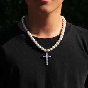 ghiacciato fuori collane pendente della traversa per le donne degli uomini di lusso collane di perle di design a catena bling diamante croci gioielli pendenti collana di perle