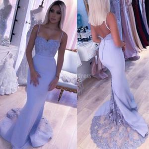 Elegante Spitze-Nixe-Abschlussball-Kleider Spaghetti Backless Sweep Zug Retro spezielle Gelegenheits-Kleid Stilvolle formale Partei-Abendkleid Chic Vestido