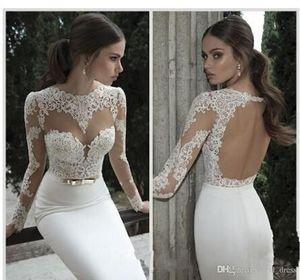 New Arrival Sexy Sheath 2019 Wedding Dresses Illusion Long Sleeves Open Back with Sash Vestidos De Noiva