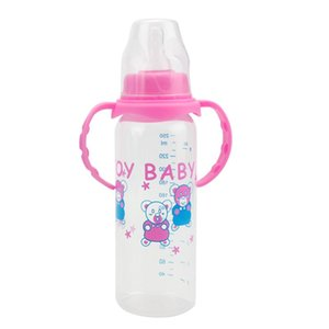 250ml Cute Baby bottle Infant Newborn Children Learn Feeding Drinking Handle Bottle Kids Standard Caliber PP Bottles
