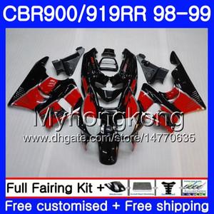 Corpo para HONDA CBR 900RR CBR 919RR CBR900 RR capota preta vermelha CBR919RR 98 99 278HM.11 CBR900RR CBR 919 RR CBR919 RR 1998 1999 kit de carenagens