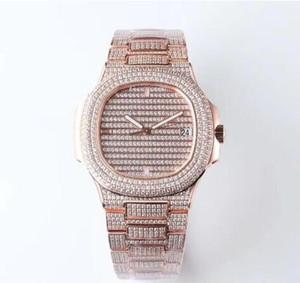 Reloj Nautilus de lujo para hombres de fábrica de calidad superior mecánico automático relojes para hombre 40 mm Full Diamond Sport 5719