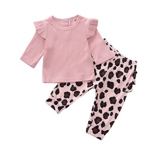 0-18M Toddler Baby Girl Kid Clothes Sets Fly-Sleeve Knitted Sweater Top Leopard Pants 2 Pcs Outfits Baby Girl 2 Piece Sets
