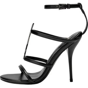 Diseñador Mujer Tacones altos Sandalias de gladiador Bombas en tono dorado negro Sandalias Correa del tobillo Vestido Zapatos de boda Sandles