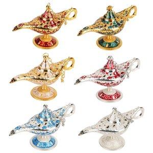 Metal genie lâmpada luz desejando bule de chá retro mobiliário artigo luz pote decoração enfeites para casa