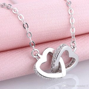 Silver Jewelry For Women crystal Color Double Love Two Heart Necklaces Pendants Valentines Gifts maxi statement free shipping