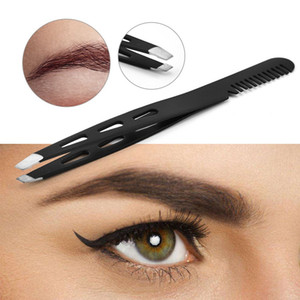 1PC Black Color Eyebrow Tweezer Hair Beauty Puller Stainless Steel Eye Brow Clips With Eyebrow Comb  Tool Brand New