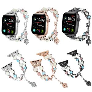 Vente en gros 1pc Agate Perles Bracelet De Perles Bracelet Bracelet Lumineux Bracelet Montre Pour Apple Watch Series 1/2/3/4 38/40/42 / 44mm