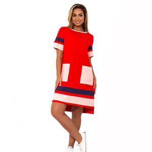 Frau Kleider Frauen Designer-Kleidung-Kleid-Frauen Maxi-Gerade Patchwork Vestidos 6XL Short Sleeve Big Size Arbeit Weibliche Geschenk-Kleider