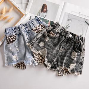 Neonata denim di estate del nuovo bambino del Jean Hit pantaloni leopardo cuciture allentate casuali dei jeans bambine ragazzi fori Pantaloncini Y2833 Y200704