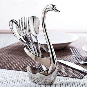 Paslanmaz Çelik Çatal Ve Kaşık Tutucu, Dekorasyon bulaşığı Seti Mutfak Aletleri Tutucu Çatal Holder, En İyi Hediye İçin Sevgililer Mutfak Sto Swan