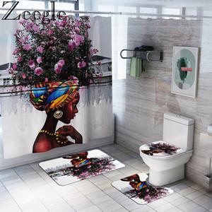 Femmes afro-américaine Tapis de bain Rideau de douche Tapis de bain Tapis de bain Ensembles toilettes Tapis Set Antiderapant Maison WC Etage