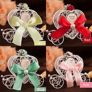 Hierro de moda europea Romántica en forma de corazón Carro de calabaza Caja de dulces para bricolaje Fiesta de bodas Favor y regalos Decoración de la boda