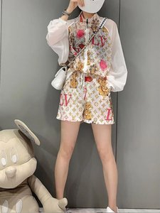 vestido 2020 pantalones cortos de la manera del verano de las mujeres europeas juego de la manera estilo de dos piezas de complementos de moda de protección solar de las mujeres occidentales