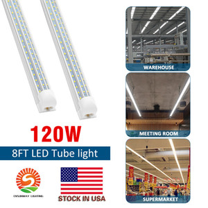 V-Shaped 2ft 3ft 4ft 5ft 6ft 8ft Cooler Door Led Tubes T8 Integrated Led Tubes 3 Row 120W Led Lights 85-265V Stock In US