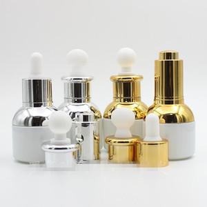 30ml Boş lüks Doldurulabilir İnci Beyaz Cam Damlalık Esansiyel Yağı Kozmetik Pot kullanılan kaplar Cam Pipet Dropper ile şişeyi Şişe