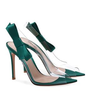 2019 여자 우아한 샌들 PVC 투명한 젤리 지적 발가락 여자 펌프 하이힐 슬리퍼 신발 뒤꿈치 지우기 샌들 웨딩 파티 신발