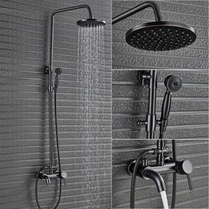 """Single Lever Bath Shower Complete set Faucet In Wall 8""""Rainfall Bathroom Faucet Black Brass with Handshower and Tub Spout T200612"""