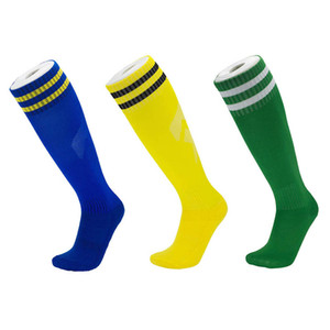 Lang Fußball-Socken 20 Farben Erwachsene Kinder Solide Striped Outdoor Sports Socken Männer Breathable Anti-Rutsch Strümpfe Frauen elastische beiläufige Socken 05