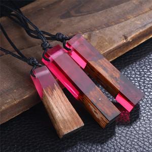 Nouveau Mode Résine Bois Collier Vintage main Pendentifs longue corde Colliers en bois Bijoux de haute qualité Femmes Hommes Cadeau de Noël D948L F