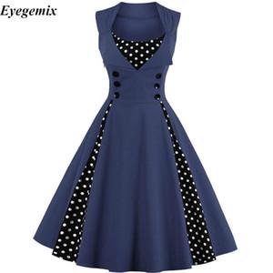 Plus Size 4XL Vintage Retro Donna Dress 50S 60S senza maniche Polka Dot Party Vestido Elegante Patchwork Red Una Line Dress Casual