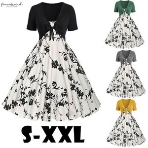 2020 Plus Size Womens Dress Summer Dress Short Sleeve Vintage Flowers Print Dress Sling Pullover Two Piece Set New