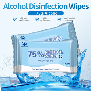 180mm * 140mm Alcohol Wipe 10pc Wipes portáteis Wet Wipes 75% etanol Antibacteriano desinfectante Dipe para escritório doméstico em STOCK DHL Free Shipping
