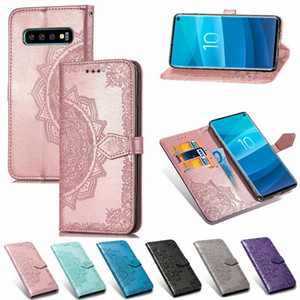Capa de couro para Samsung Galaxy S10 Além disso S10E S8 Além disso S9Plus A8Plus J8 J6 + A7 A9 J4 2018 Note8 Tampa Carteira Virar Capa