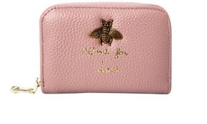 abeja cuero genuino cuero womenmen titulares de tarjetas de señora vaca de la manera diseñador cero carteras embragues ocasionales femeninos negro / púrpura / gris / azul / rosa
