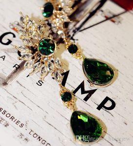 귀걸이 예쁜 문 패션 쥬얼리 브랜드 디자인 새로운 한국어 크리스탈 드롭 귀걸이 다이아몬드 보석 날개 깃털 보헤미안 귀걸이
